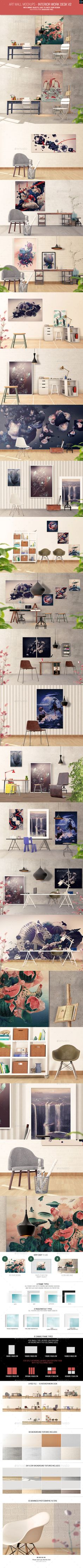Art Wall Mockups - Interior Work Desk V2 - Miscellaneous Displays