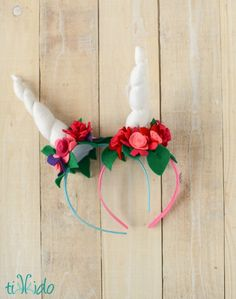 How to make a unicorn horn headband. Using felt and dollar store headbands, make these adorable unicorn horns for costumes, dress up, or party favors.