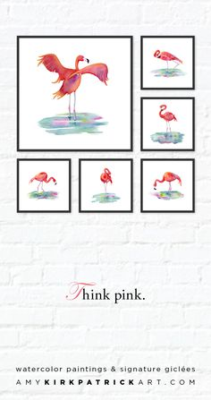 Choose from 6 FLAMINGO paintings in this series • Artist signed prints • AmyKirkpatrickArt.com #flamingos