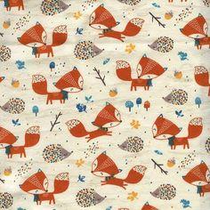 BIO JERSEY FUCHS & IGEL - Frau Tulpe Stoffe Fuchs Baby, French Terry, Bunt, Quilts, Blanket, Fabric, Diy, Fox Fabric, Warm Dresses