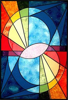 Dutchquilts: Hoop – – Verre et de vitrailes Stained Glass Quilt, Stained Glass Designs, Stained Glass Panels, Stained Glass Projects, Stained Glass Patterns, Quilt Modernen, Abstract Geometric Art, Art Drawings, Painting