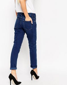 ASOS | Темно-синие джинсы бойфренда ASOS KimmiShrunkenMonroe