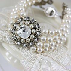 Wedding Pearl Bracelet 4 Strand Pearl Bracelet