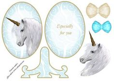 Magical White Unicorn Plate Card Stand on Craftsuprint designed by Ammie Sanders - Magical White Unicorn Plate Card