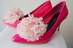 1 pair Pink  Chiffon  Flowers  shoe clips bridal by SpecialFabrics,