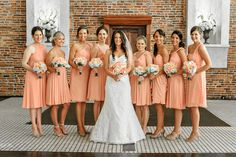 peach bridesmaid dresses / Photos by Kristopher / Fiore Fine Flowers Light Pink Bridesmaid Dresses, Bridesmaid Flowers, Bridesmaid Colours, Bridesmaid Ideas, Bridesmaids, Wedding Dresses, Orange Wedding, Wedding Colors, Old Fashioned Wedding