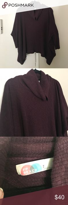 Free People Split Back Cowl Neck Sweater Cowl neck, open back. Beautiful maroon color. No trades. Free People Sweaters Cowl & Turtlenecks