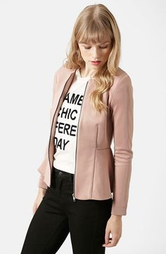 Free shipping and returns on Topshop Tailored Peplum Jacket at Nordstrom.com. A smooth knit shapes this smartly seamed collarless jacket augmented with a flared peplum hem for a prim and proper finish.