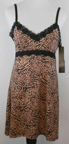 6545dc5669  36 NWT DELTA BURKE 1X Intimates Chemise Gown Slip Animal Print Plus Size   DeltaBurke  BabydollChemiseGownLiner  Glamour
