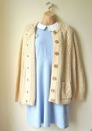 Cute in pastel blue & cream.. Vintage Cable Knit Cardigan Over-size Loose fit Peach Cream Urban Grunge Granny