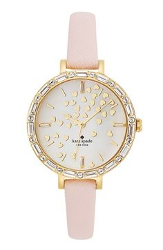 kate spade new york 'metro' crystal bezel heart dial watch ᘡղbᘠ