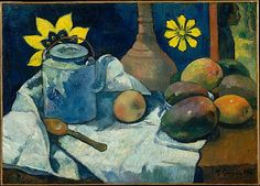 Still Life with Teapot and Fruit, Paul Gauguin (Paris 1848–1903 Atuona, Hiva Oa, Marquesas Islands), 1896, Oil on canvas. One of Gauguin's most treasured possessions was a still life by Cézanne, whose work he emulates in this picture. The Metropolitan Museum of Art, NY.