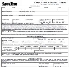 Nice GameStop Application Printable Version 2013 | GameStop Job Application Form  | Online Jobs Database