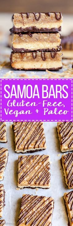 These Samoa Bars have a shortbread crust, a layer of toasted coconut caramel, and a dark chocolate drizzle! They're a gluten-free, Paleo, vegan, and guilt-free way to enjoy your favorite Girl Scout cookie. | Posted By: DebbieNet.com