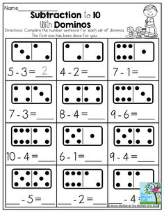 Subtraction to 10 with Dominos- Dominos provide a tangible way to support quantity recognition when adding two numbers together, especially if you bring out the real dominos for this one!