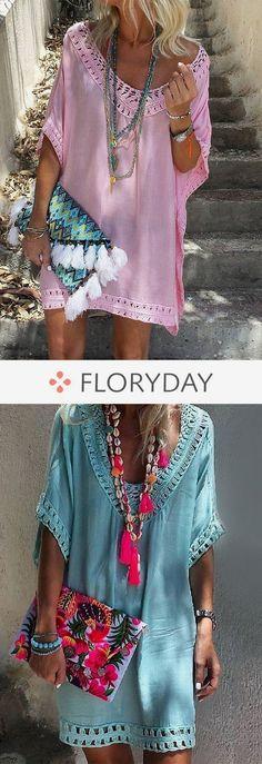 Solid Hollow Out Peasant V-Neckline Shift Dress, solid dress, hollow out, v-neck… – Daily Posts for Women Diy Fashion Dresses, Boho Fashion, Fashion Outfits, Womens Fashion, Fashion Trends, Fashion Ideas, Fashion Jewelry, Diy Jewelry, Casual Chique