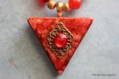 Retro Red TriOmino Altered Art Necklace by dragonflysublime, $26.00