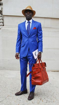 this man, stylish man, feeling blue, bag, suit, street styles, electric blue, deep blue, bold colors