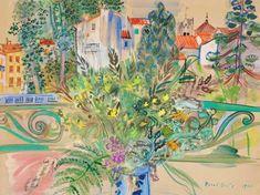 Raoul Dufy (1877-1953) Bouquet de mimosas devant la fenêtre à Céret