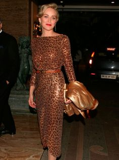 Sharon Stone looked every bit the hollywood movie star in this sequinned leopard print dress. She is visiting Mumbai to host a charitable ev...