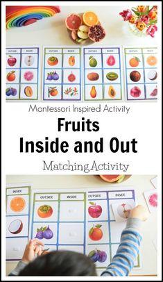 Montessori printables - Fruit Unit Inside and Out Matching Activity – Montessori printables Montessori Homeschool, Montessori Classroom, Montessori Toddler, Montessori Activities, Learning Activities, Preschool Activities, Kids Learning, Homeschooling, Montessori Bedroom