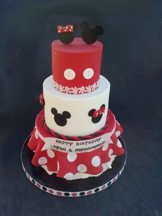 Mickey and Minnie Mouse birthday cake for Icing Smiles!  By http://www.facebook.com/KarasBakeShoppe