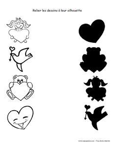 St-Valentin - Relier les dessins à leur silhouette - Activité à imprimer Valentines Day Cards Tumblr, Homemade Valentines Day Cards, Valentine Crafts For Kids, Kids Table Wedding, Wedding With Kids, Valentine Banner, Valentine Theme, Diy St Valentin, Short E Words