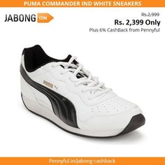 Offer at #Jabong to kick-start the weekend :)   Puma Commander Ind White Sneakers at Jabong at 20% off!!   This means you can buy the Rs. 2999 priced sneakers for just Rs. 2399. Plus get 6.0% cashback when you shop at Jabong via Pennyful.   Shop here today: http://www.pennyful.in/jabong-cashback?utm_source=SocialMedia&utm_medium=Social&utm_campaign=DOTD?idref=63028