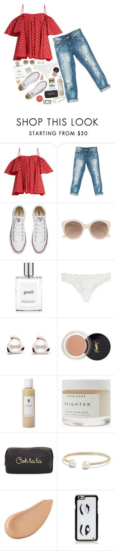 """""""Paris Polka Dots"""" by gwynnieluree ❤ liked on Polyvore featuring Anna October, Sans Souci, Converse, Witchery, philosophy, La Perla, Linne, Herbivore, Neiman Marcus and David Yurman"""