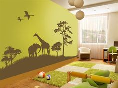 Grand Safari Wall Decals depict the wonderous wildlife scene that you would see on an African safari.  This wall decal includes a giraffe, elephant, two flying birds, trees and grassy mound.
