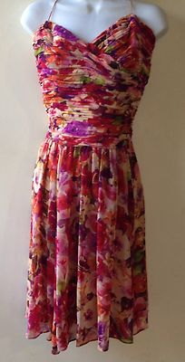Lauren BY Ralph Lauren Silk Floral Orange RED Lined Flutter Empire Dress Size 12   eBay