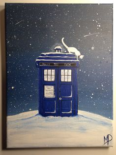 The Cat and the Tardis   9 x 12 Cat on top of Tardis by MichaelHProsper