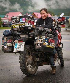 Alicia Sornosa (a general badass) and her BMW motorcycle on her road trip! World traveler Alicia and the gang of Spanish moto globetrotters were staying at the same hotel in Valdez, AK. (From Dean Howard)---- badass is right- i Ford Gt, Bmw Boxer, Gs 1200 Adventure, Adventure Travel, Motorcycle Camping, Motorcycle Adventure, Motorcycle Touring, Touring Bike, Camping Gear