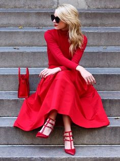 Lady in Red & Valentino shoes