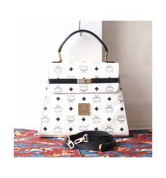 6699c2d5c3 MCM Visetos White Navy Kelly tote handbag authentic vintage bag by hfvin on  Etsy  mcm