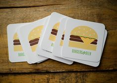 Burger & Beer   Set of 10 Paper Coasters by KellyElliottCreative