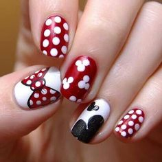 Minnie Mouse nails! Thumb mickey shorts Yellow nail  Mickey head black/white Minnie bow red/white Black nail
