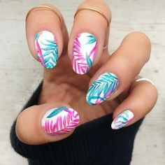 Hot Tropical Nail Designs To Brighten Up Your Summer ?️ Hot Tropical Nail Designs To Brighten Up Your Summer Hot Tropical Nail Designs To Brighten Up Your Summer ? Tropical Nail Designs, Tropical Nail Art, Motif Tropical, Cute Summer Nail Designs, Diy Nail Designs, Short Nail Designs, Tropical Flower Nails, Flower Nail Designs, Summer Design