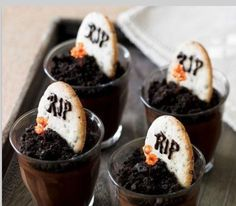 Yummy pudding cups 4 bros b-day!!! Chocolate pudding Oreo cookie crumbs and chocolate chip R.I.P. cookie