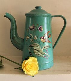 Vintage French Green Enameled Coffee Pot with Bird and Butterfly