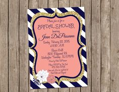 Hey, I found this really awesome Etsy listing at https://www.etsy.com/listing/216881885/coral-and-navy-wedding-invitation-bridal