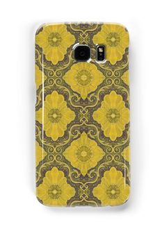 """""Golden flowers"", floral pattern, bohemian arabesque, yellow and brown"" Samsung Galaxy Cases & Skins by clipsocallipso 