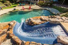 Swimming Pool Slides, Swimming Pool Designs, Pool With Slide, Big Pools, Cool Pools, Beach Entry Pool, Beach Pool, Atlantis Pools, Modern Pools