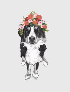 Bernese Mountain Dog Flower Crown by annatyrrell on Etsy