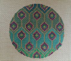 Beautiful Hand Painted HP Round Ornament Needlepoint Canvas 18 mesh
