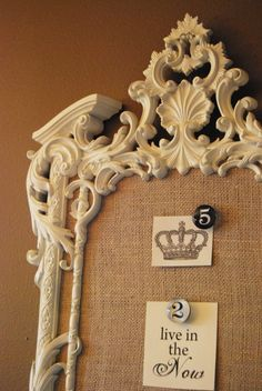Love the fancy frame paired with the burlap.