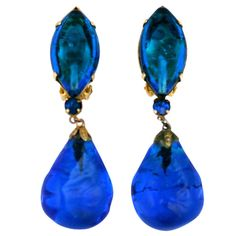 Aqua Poured Glass Earrings | From a unique collection of vintage drop earrings at https://www.1stdibs.com/jewelry/earrings/drop-earrings/