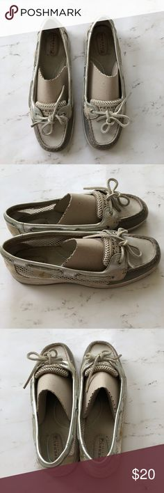 Well Loved Sperrys♥️ Some wear Very well loved  So comfortable  Not my size anymore Grey silver and cream  Size 8M Sperry Top-Sider Shoes Flats & Loafers