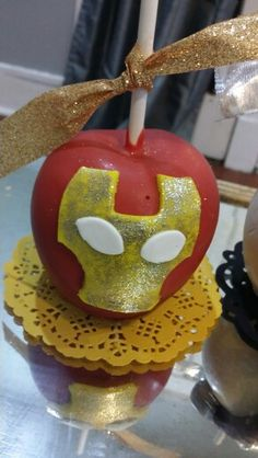 """""""Iron Man """" chocolate covered apples Avengers Birthday, Superhero Birthday Party, Chocolate Covered Apples, Caramel Apples, Iron Man Birthday, Party Themes For Boys, Candy Apples, Cake Tutorial, Man Candy"""
