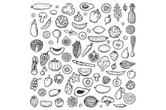 Vegan Set   Seamless pattern Graphics Vegetables and Fruits Set and Seamless Pattern of hand drawn doodle elementsZIP include:2 Vector by Elena Lux